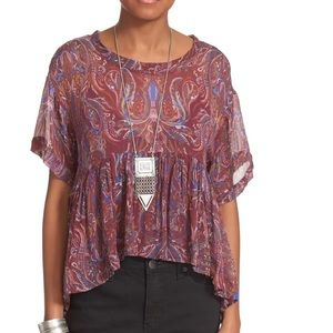 FREE PEOPLE Say You Will Paisley Burgundy Top L